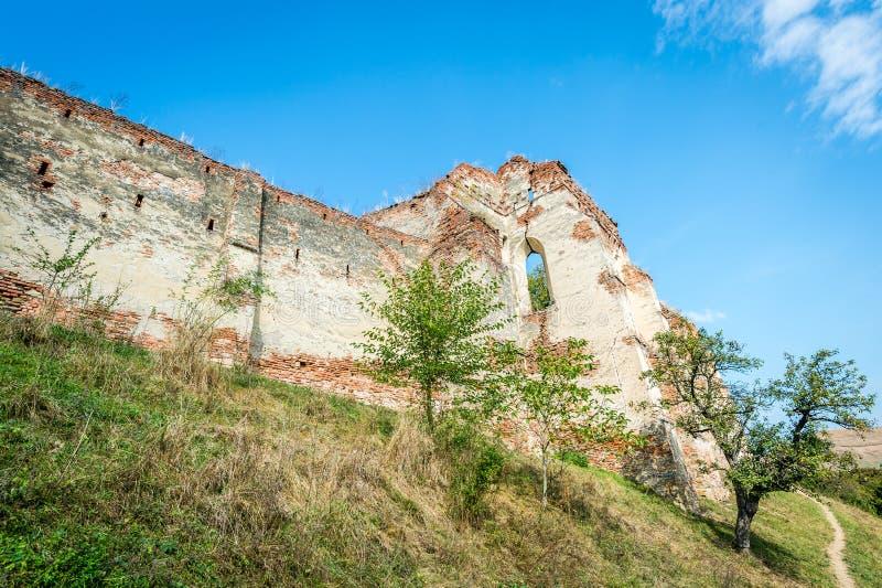 Castle in Slimnic, Romania. Slimnic, Romania - September 18, 2016: Historical medieval ruins of the castle in Slimnic, Romania royalty free stock photo