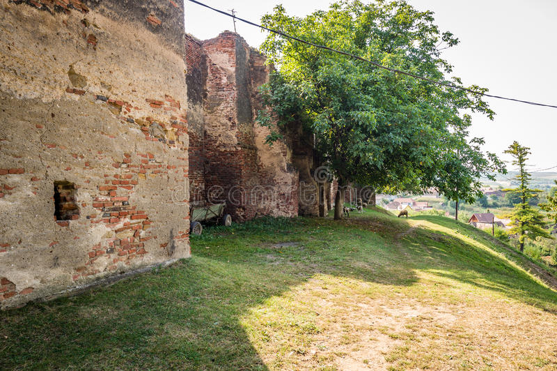 Castle in Slimnic, Romania. Slimnic, Romania - September 18, 2016: Historical medieval ruins of the castle in Slimnic, Romania royalty free stock photography