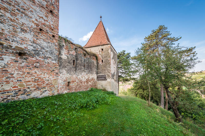 Castle in Slimnic, Romania. Slimnic, Romania - September 18, 2016: Historical medieval ruins of the castle in Slimnic, Romania royalty free stock images