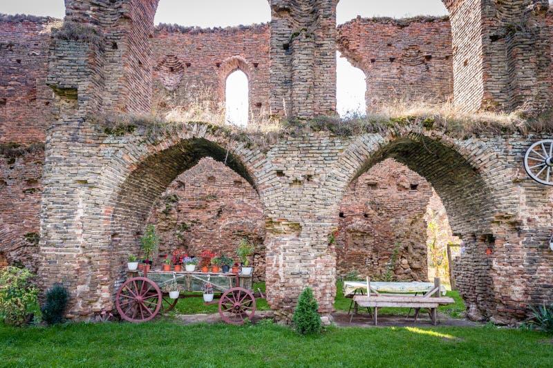Castle in Slimnic, Romania. Slimnic, Romania - September 18, 2016: Historical medieval ruins of the castle in Slimnic, Romania stock images