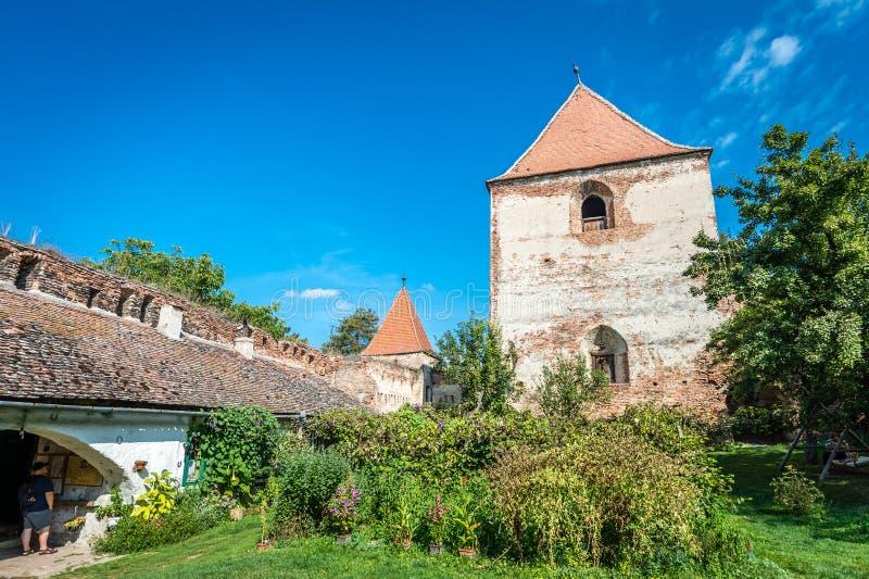 Castle in Slimnic, Romania. Slimnic, Romania - September 18, 2016: Historical medieval ruins of the castle in Slimnic, Romania stock photos