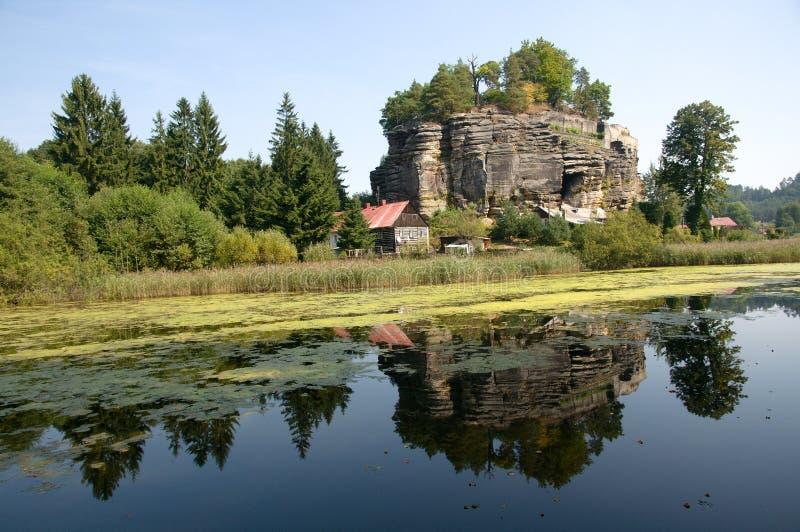 Castle Sloup, Czech republic. Rock castle Sloup in northern Bohemia, Czech republic royalty free stock image