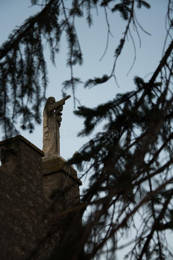 At the castle of Soriano nel Cimino the Madonna protects royalty free stock photos