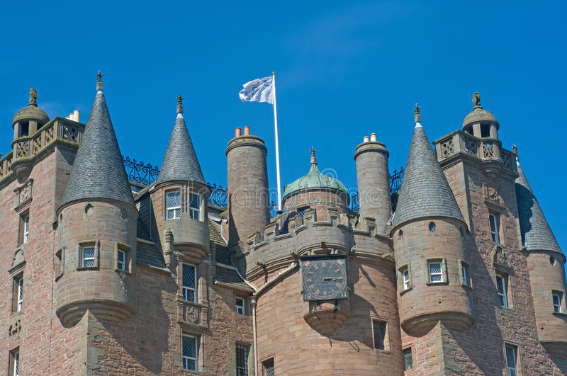 Castle spires and flag royalty free stock images