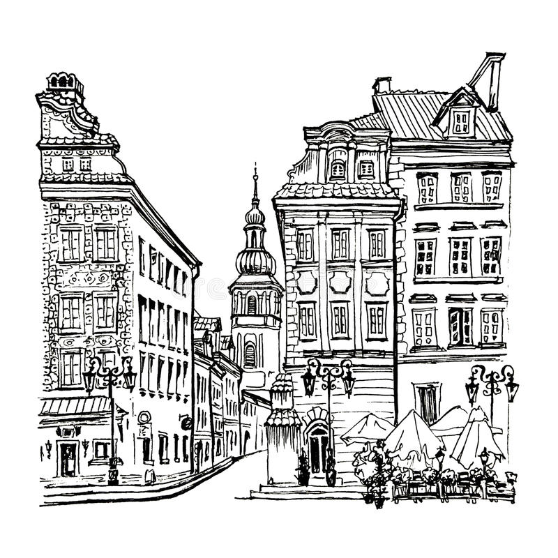 Castle Square in the morning, Warsaw, Poland. royalty free illustration