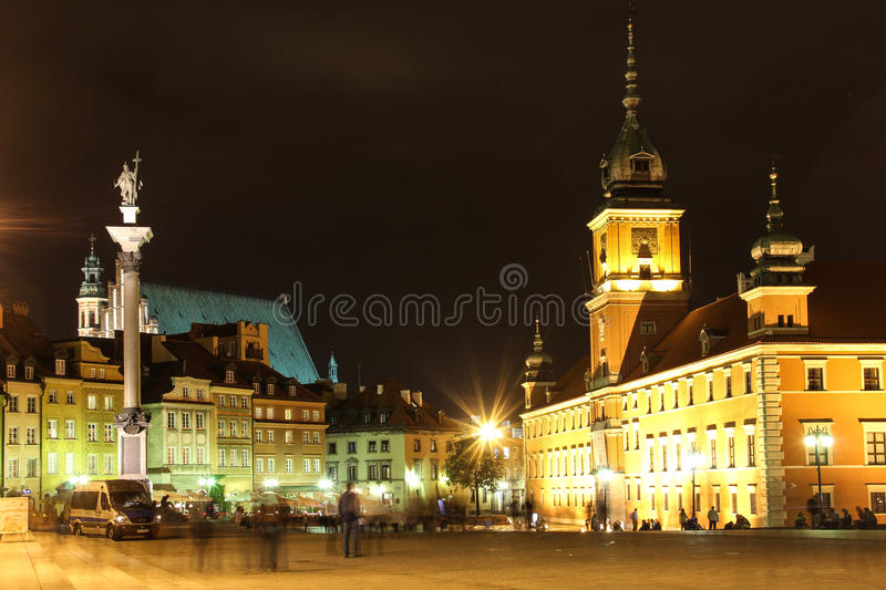 Castle Square at night. Warsaw. Poland. Castle Square is the center of the night life in the old town with many cafes and restaurants. Warsaw. Poland stock photos