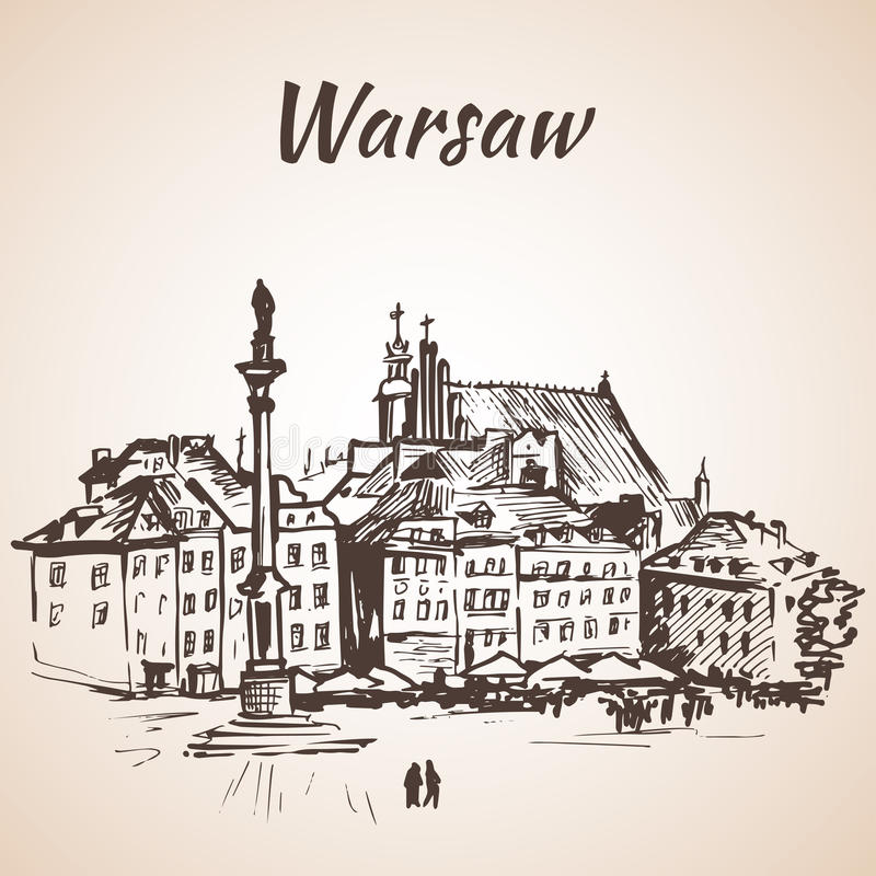 Castle Square in the old quarter of Warsaw, Poland. Sketch. Isolated on white background stock illustration