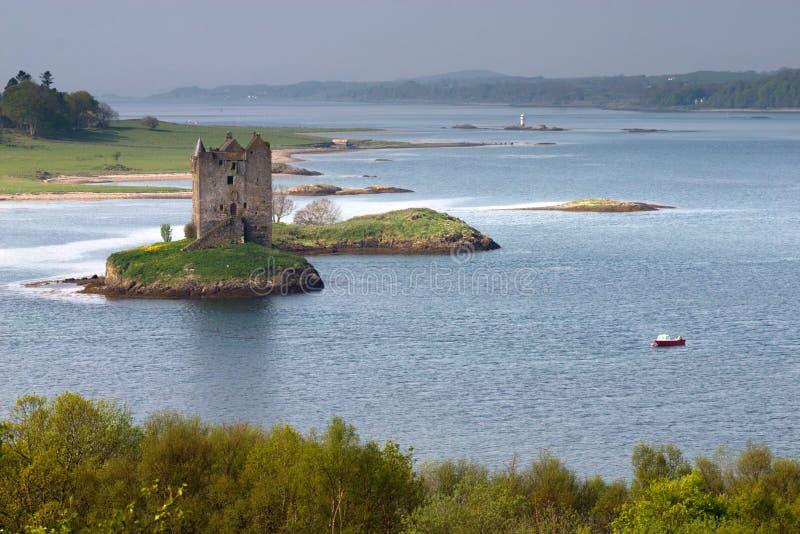 Castle Stalker. Ruins of famous Stalker Castle stock images