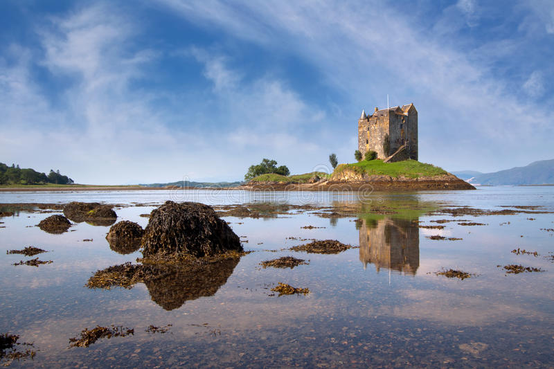 Castle Stalker, Appin, Argyll, Scotland. Is a well-preserved medieval tower-house situated on a tidal islet on Loch Laich. Founded around 1440 the castle has royalty free stock photography