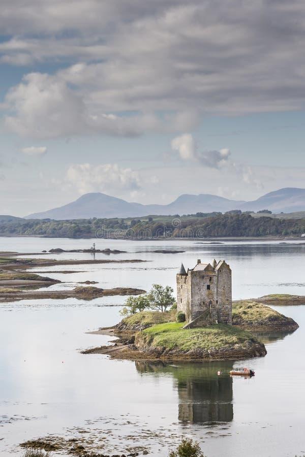 Castle Stalker on Loch Laich in Argyll. Castle Stalker on Loch Laich in Argyll in the Highlands of Scotland stock photo
