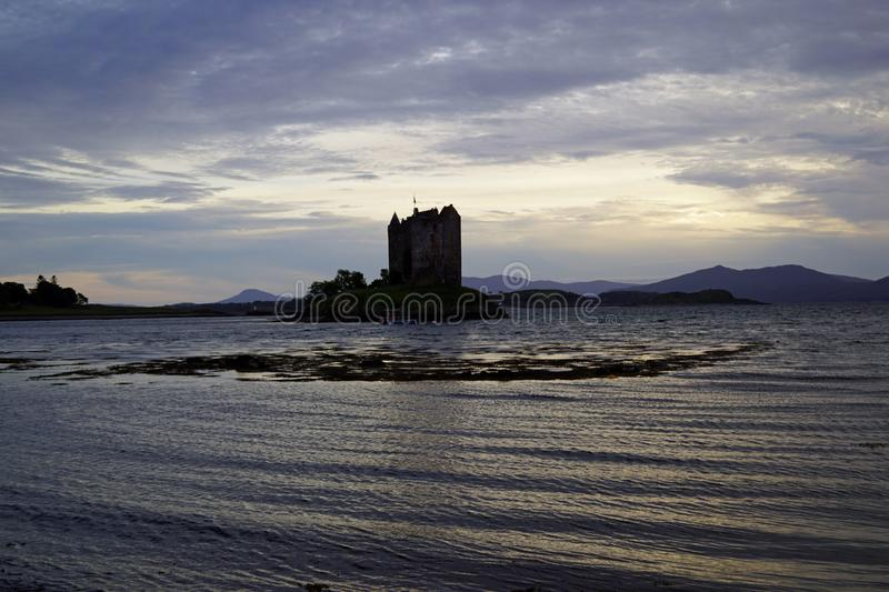 Castle Stalker. Is a tower house about 2.5 kilometers northeast of Port Appin, a village in Argyll and Bute, Scotland royalty free stock photo