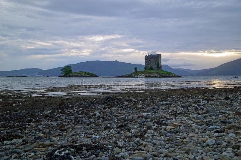 Castle Stalker. Is a tower house about 2.5 kilometers northeast of Port Appin, a village in Argyll and Bute, Scotland stock image