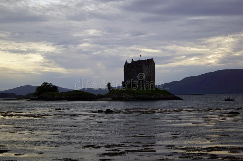 Castle Stalker. Is a tower house about 2.5 kilometers northeast of Port Appin, a village in Argyll and Bute, Scotland stock photo