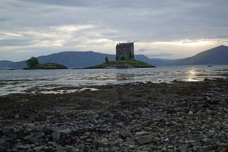 Castle Stalker. Is a tower house about 2.5 kilometers northeast of Port Appin, a village in Argyll and Bute, Scotland royalty free stock photos