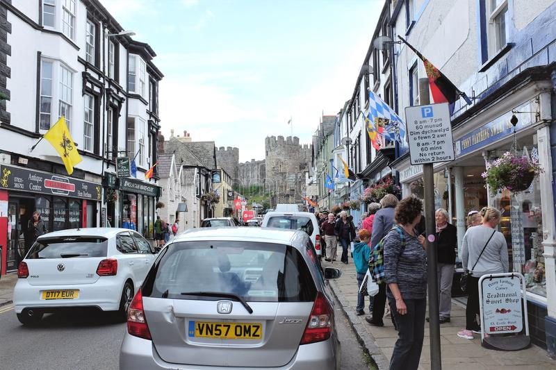 Castle street, Conway, Wales, UK stock photos
