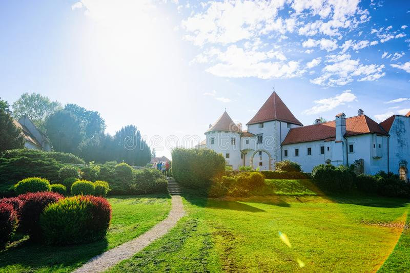 Castle in Street in Old city of Varazdin in Croatia. Varazdin, Croatia - May 1, 2019: View of Castle in Street in Old city of Varazdin in Croatia. Panorama and royalty free stock photography