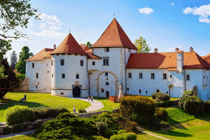 Castle at Street of Old city of Varazdin Croatia. Varazdin, Croatia - May 1, 2019: View of Castle at Street of Old city of Varazdin in Croatia. Panorama and stock image