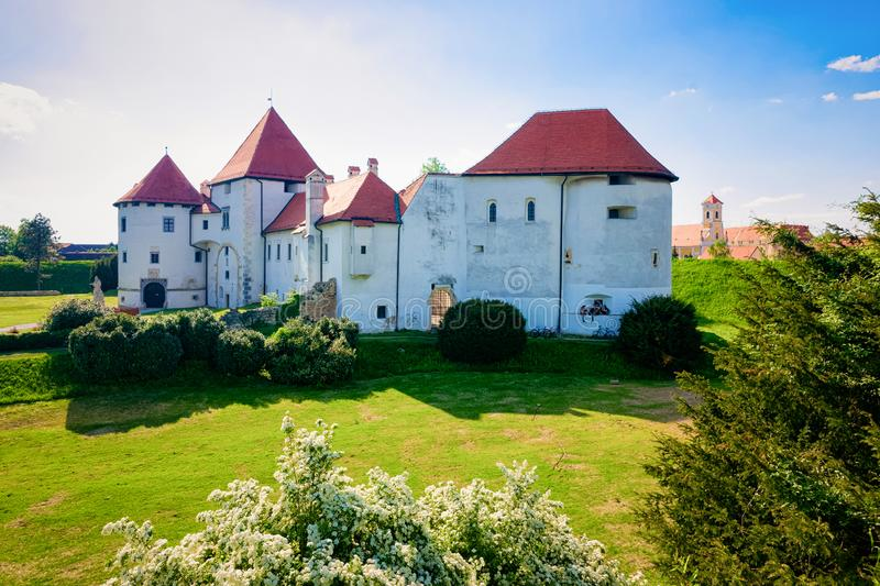 Castle on Street at Old city of Varazdin in Croatia. View of Castle on Street at Old city of Varazdin in Croatia. Panorama and Cityscape of famous Croatian town royalty free stock photography