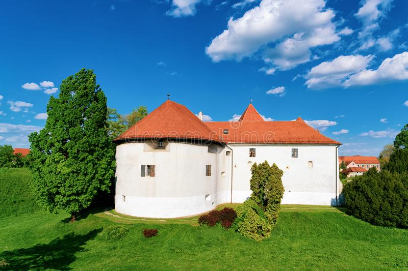 Castle in Street of Old city of Varazdin in Croatia. View of Castle in Street of Old city of Varazdin in Croatia. Panorama and Cityscape of famous Croatian town royalty free stock photo