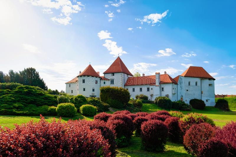 Castle on Street in Old city of Varazdin in Croatia. View of Castle on Street in Old city of Varazdin in Croatia. Panorama and Cityscape of famous Croatian town royalty free stock images