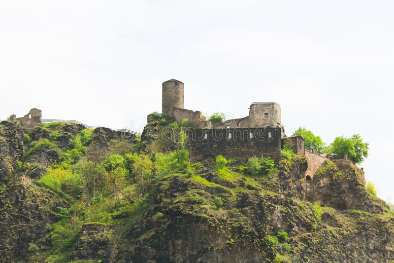 Castle Strekov στο NAD Labem Usti στο άσπρο υπόβαθρο Τσεχικό έδαφος στοκ εικόνες