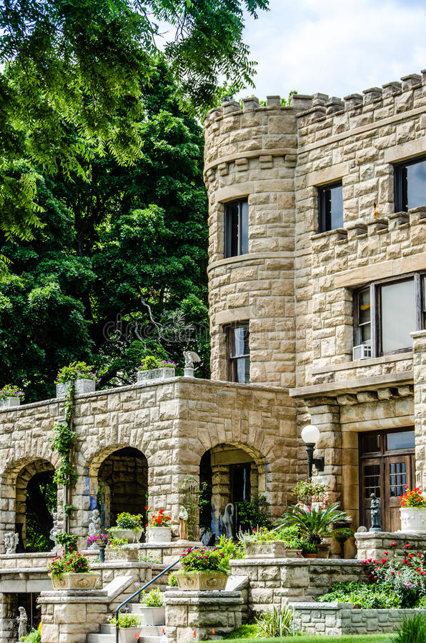 Castle style stone old home / mansion royalty free stock photography