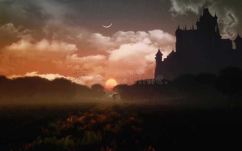 Castle In The Sunset stock illustration