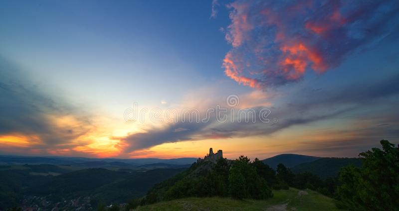 Castle and sunset stock images