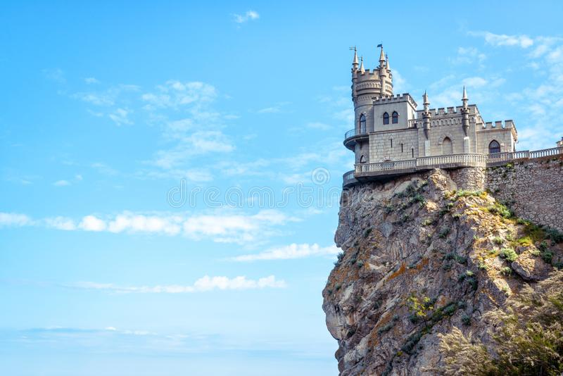 Castle of Swallow`s Nest at the Black Sea coast, Crimea, Russia royalty free stock photo