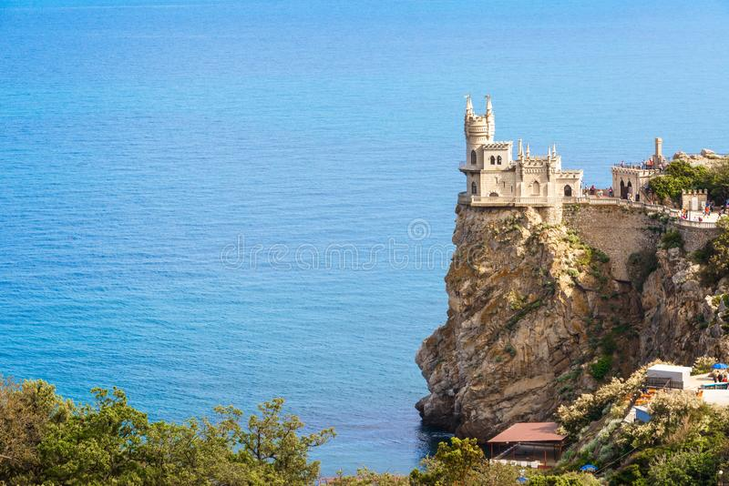 Castle of Swallow`s Nest in Black Sea, Crimea, Russia stock images
