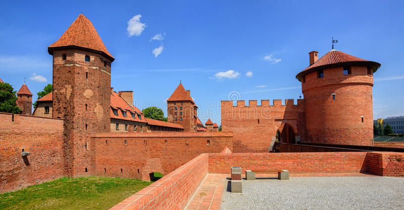 Castle of Teutonic Knights Order in Malbork, Poland. Panoramic view of the castle of Teutonic Knights Order in Malbork, Poland, historical Prussia stock photos