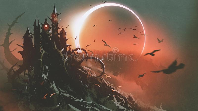 Castle of thorn with solar eclipse in dark sky. Scenery of castle of thorn with solar eclipse in dark red sky, digital art style, illustration painting stock illustration