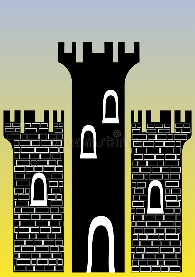 Castle with three towers royalty free illustration
