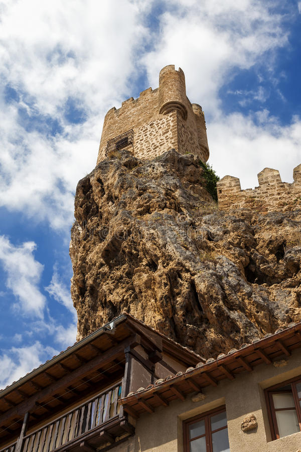 Castle at the top of the cliff stock photos