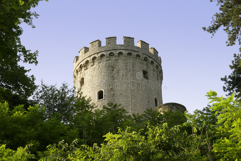 Castle tower. Part of medieval castle tower stock photo