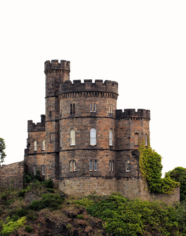 Castle tower. Medieval castle tower, this monument is isolated on white background, in Edinburgh, capital of Scotland stock photos