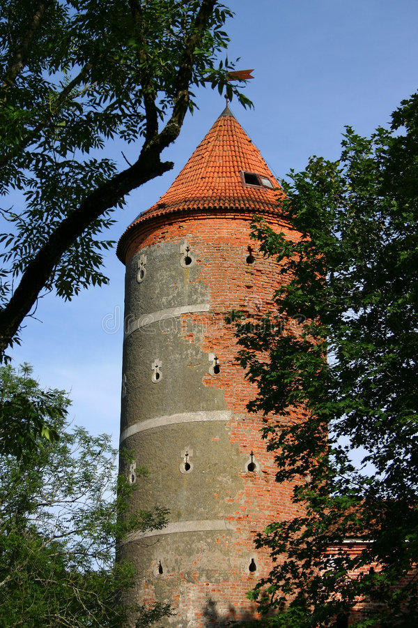 Castle tower. Old castle tower in lithuania, panemune stock photo
