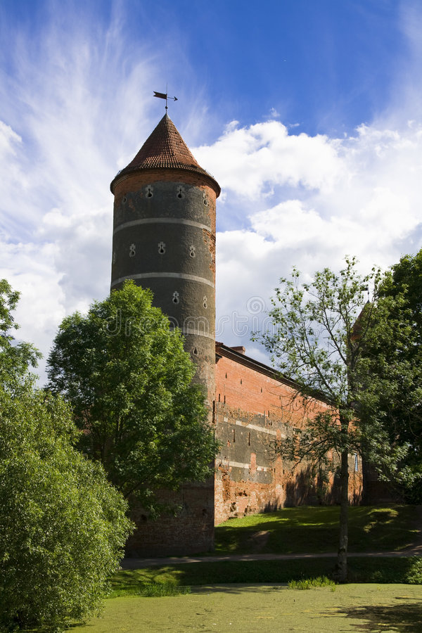 Castle tower. Old castle tower in lithuania, Panemune regional park royalty free stock photo