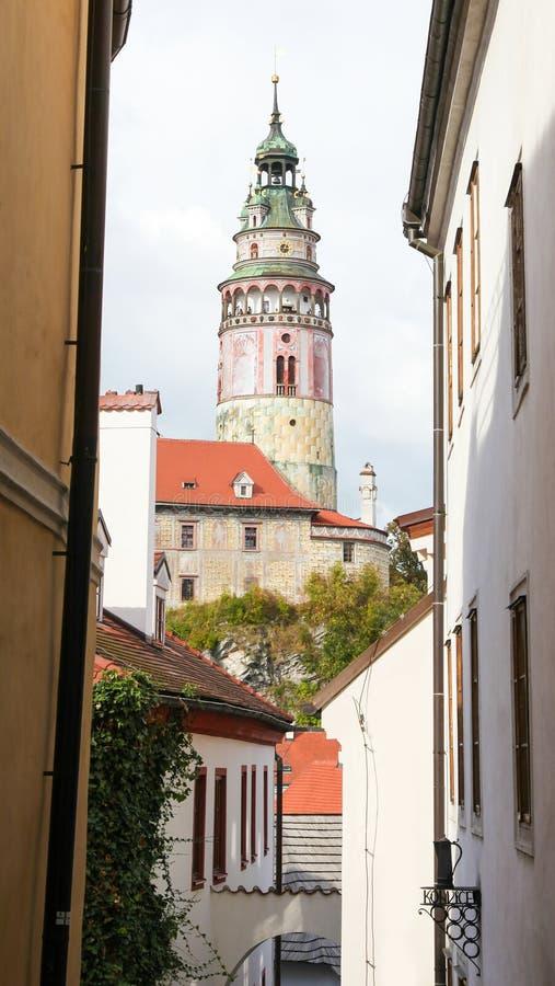 Castle Tower in Cesky Krumlov, South Bohemia, Czech Republic stock photo