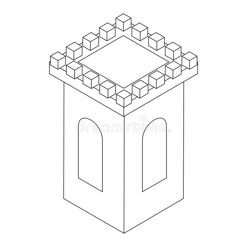 Castle tower icon, isometric 3d stock illustration