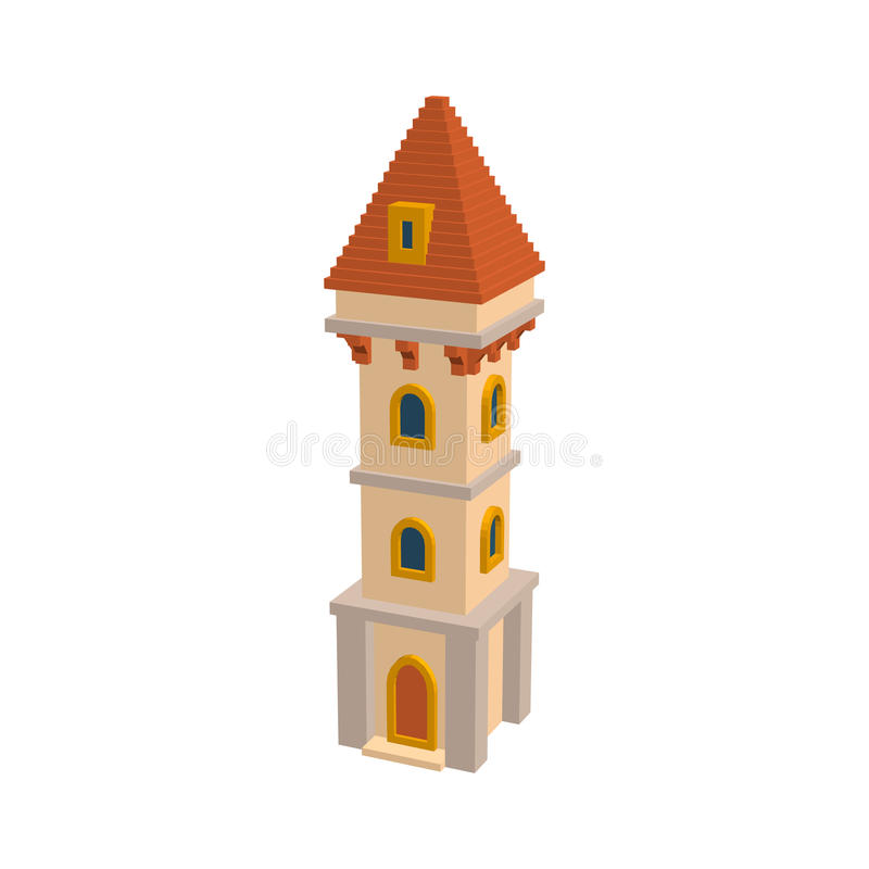 Castle tower. Isolated on white background. 3d Vector illustration. vector illustration