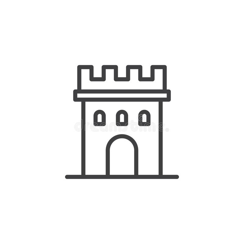 Castle tower line icon royalty free illustration