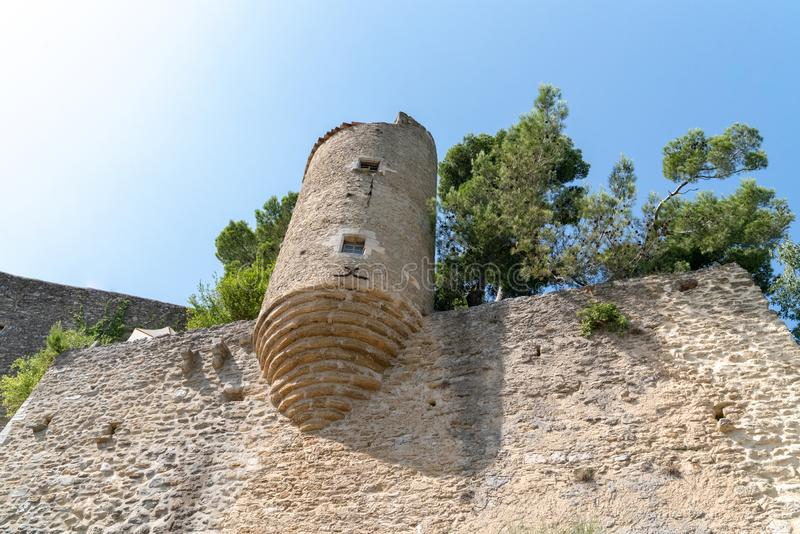 Castle tower round Ménerbes village on hill Provence Vaucluse Luberon France stock photography