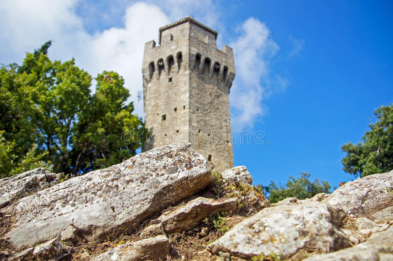 Castle tower. In San Marino stock images