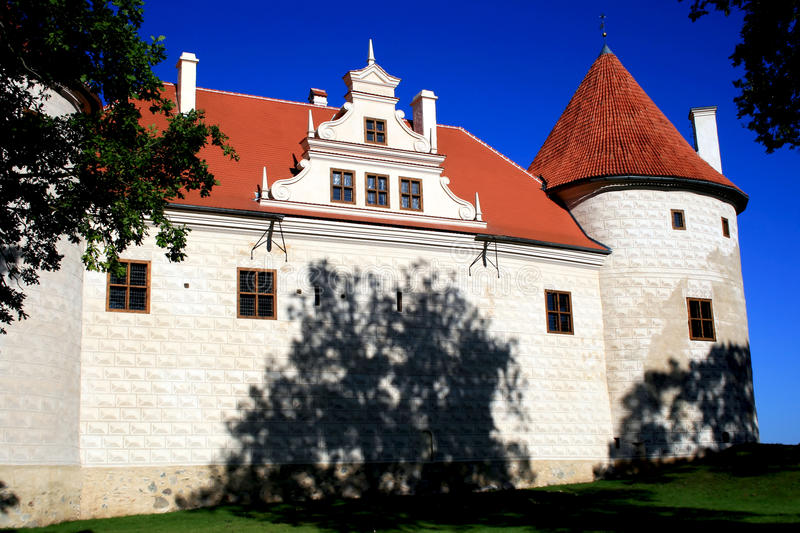Castle in town Bauska, Latvia. Bauska castle was built in place of the fixed settlement of baltov of late bronze age (1439-1450 royalty free stock images
