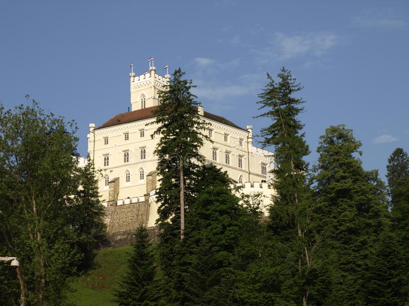 CASTLE. Trakoscan Castle on hill high above the lake royalty free stock photo