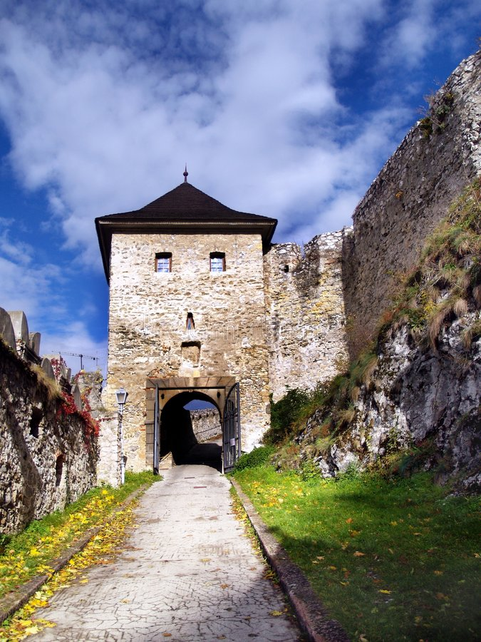 The Castle of Trencin - Gate. View of entrance to The Castle of Trencin. The Castle of Trencin is located in the town Trencin in Povazie region, Slovakia. It is stock photography