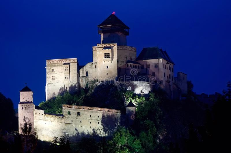 Castle Trencin, Slovakia. Night lighting of the castle Trencin in Slovakia royalty free stock photos