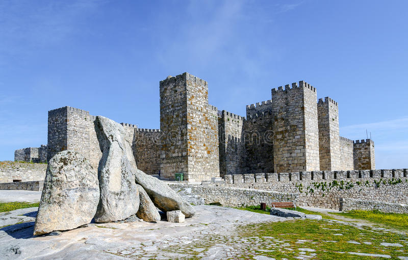 Castle of Trujillo, a medieval village in the province of Caceres. Spain royalty free stock image