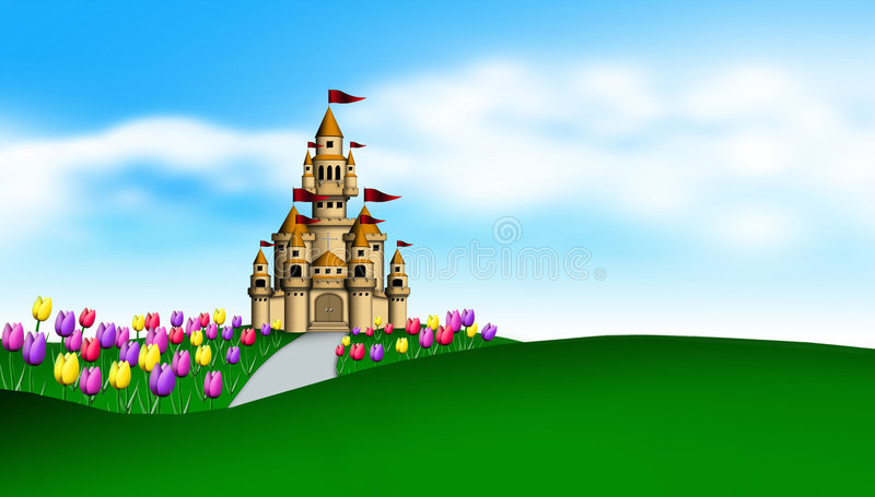 Castle and tulips garden royalty free illustration